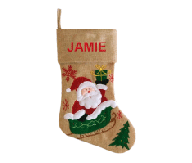 Modern Santa Sled Christmas Stocking